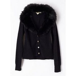 ANTHROPOLOGIE Vedette Fur Cardigan Black {A21}